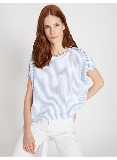 Koton Kısa Kollu Çizgili Bluz Mavi